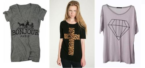 Rebel Yell Bonjour V-Neck in Heather Grey | Truly Madly Deeply Animal Cross Tee | Wildfox Big Diamond Over-Sized Tee